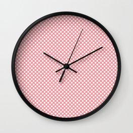 Flamingo Pink and White Polka Dots Wall Clock