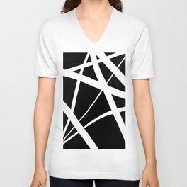 Geometric Line Abstract - Black White Unisex V-Neck