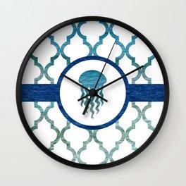 Jellyfish: Tropical Water Moroccan Pattern Wall Clock