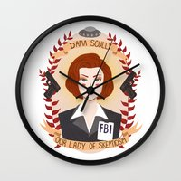 dana scully Wall Clocks featuring Dana Scully by heymonster