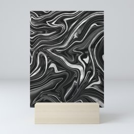 Black Gray White Silver Marble #1 #decor #art #society6 Mini Art Print