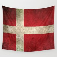 denmark Wall Tapestries featuring Old and Worn Distressed Vintage Flag of Denmark by Jeff Bartels
