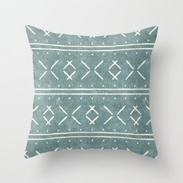 mud cloth stitch - dusty blue Throw Pillow