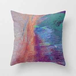 the current meets shore Throw Pillow