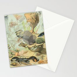 SEA CREATURES COLLAGE, OCEAN ILLUSTRATION Stationery Cards