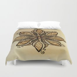 Happiness and peacefull mandala of wood Duvet Cover
