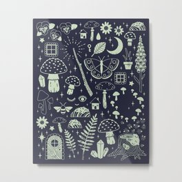 Fairy Garden: Midnight Metal Print