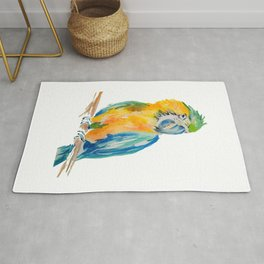 blue and yellow Parrot bird watercolour painting Rug