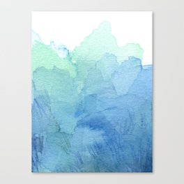 Abstract Watercolor Texture Blue Green Sea Sky Colors Canvas Print