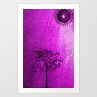IPHONE CASE-Tree & Sun (Purple version) Art Print