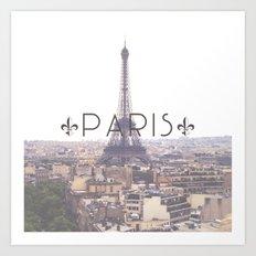 Eiffel Tower with Paris Art Print