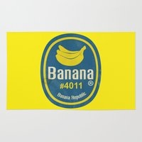 sticker Area & Throw Rugs featuring Banana Sticker On Yellow by Karolis Butenas