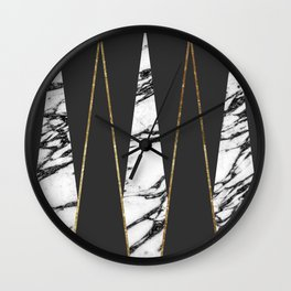 Long Modern Marble Black and Gold Triangles Wall Clock