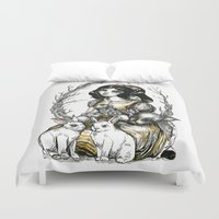 snow white Duvet Covers featuring Snow White by Taylor Bryn Illustration