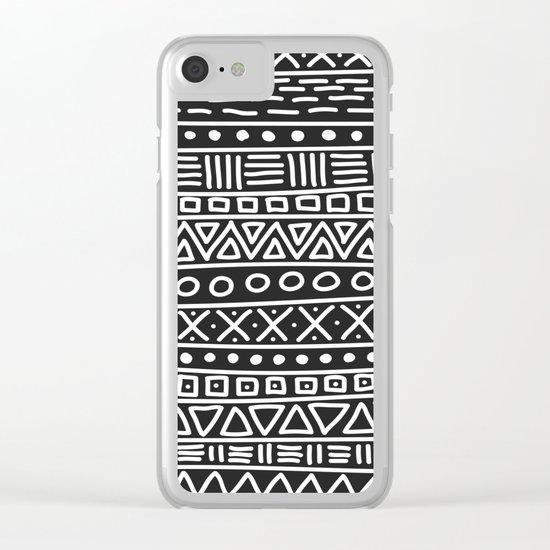 Geometric Doodle Plaid Clear iPhone Case
