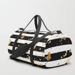 Stripes & Gold Splatter - Horizontal Duffle Bag
