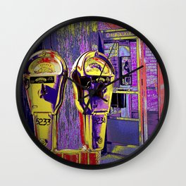 Pop Art of City Parking Meter and Phone Booth Wall Clock