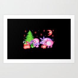 """Christmas card """"Sudden meeting"""" Art Print"""