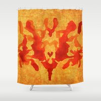 burgundy Shower Curtains featuring Burgundy mark by Lord Egon Will
