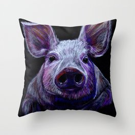 Colorist Pig Illustration Throw Pillow