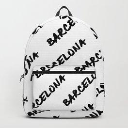 'Barcelona' Spain Hand Letter Type Word Black & White Backpack