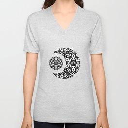 Black And White Floral Doodle Pattern Unisex V-Neck