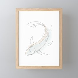 koi - one line fish art with colours Framed Mini Art Print
