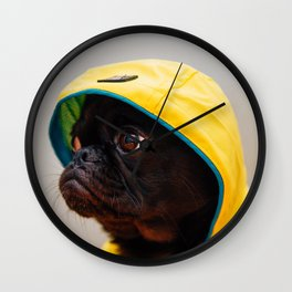Cute Pug in Raincoat (Color) Wall Clock
