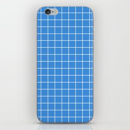 Tufts blue - turquoise color - White Lines Grid Pattern iPhone Skin