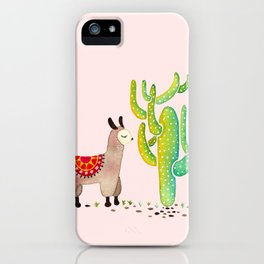Cute alpacas with pink background iPhone Case