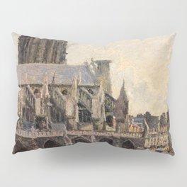 """Camille Pissarro """"L'Église Saint-Jacques à Dieppe, soleil, matin"""" Pillow Sham"""