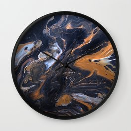 Acrylic pour Black Marble and Bronze Wall Clock