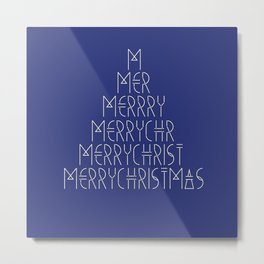 Merry Christmas Tree Blue Metal Print