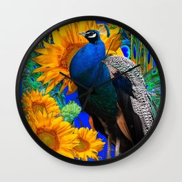 BLUE PEACOCK & GOLDEN SUNFLOWERS BLUE ART Wall Clock