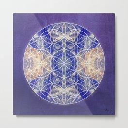 Flower of Life Blue Metal Print