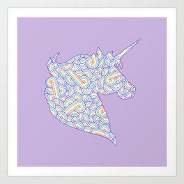 Rainbow and white swirls doodles Art Print