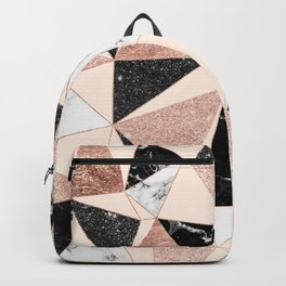 Modern black white marble rose gold glitter foil geometric abstract triangles pattern Backpack
