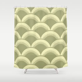 Japanese Fan Pattern Olive and Yellow Shower Curtain