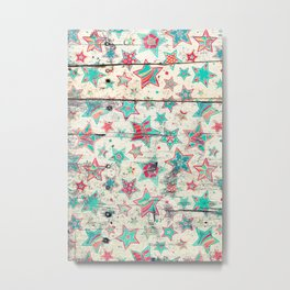 Grunge Stars on Shabby Chic White Painted Wood Metal Print
