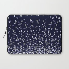 Floating Confetti - Navy Blue and Silver Laptop Sleeve