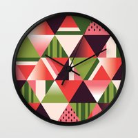 watermelon Wall Clocks featuring watermelon by Gray