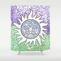 supernatural Shower Curtains featuring Supernatural by Beastie Toyz