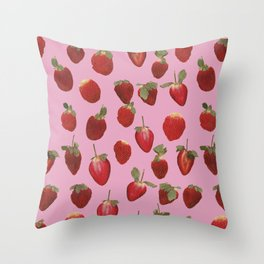 Pattern - real pressed strawberry pattern Throw Pillow