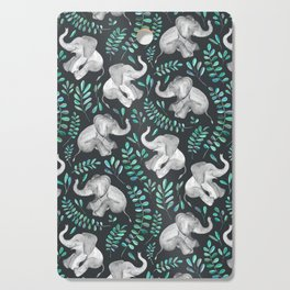 Laughing Baby Elephants – emerald and turquoise Cutting Board