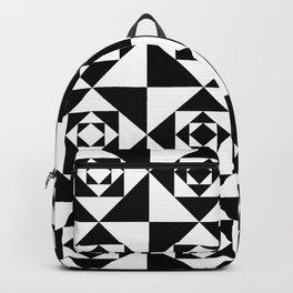 Black & White Detailed Geometric Triangles Digital Pattern Backpack