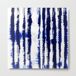 Tie-Dye Shibori Stripe Blue Metal Print