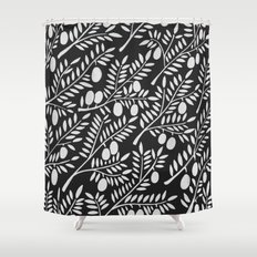 White Olive Branches Shower Curtain