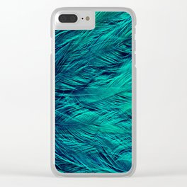 Teal Feathers Clear iPhone Case