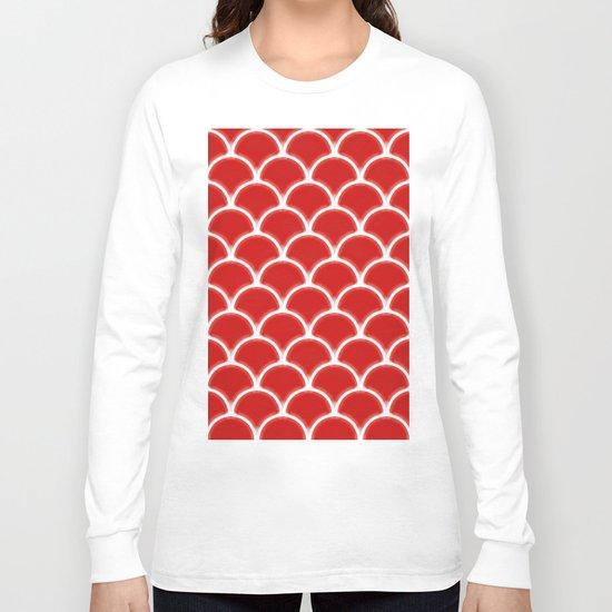 Large scallops in fabulous fiesta red Long Sleeve T-shirt
