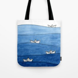 Paper boats Tote Bag